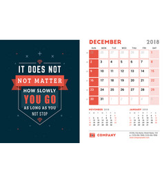 Desk calendar template for 2018 year december vector