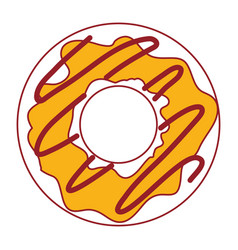 donut with cream glazed in color sections vector image