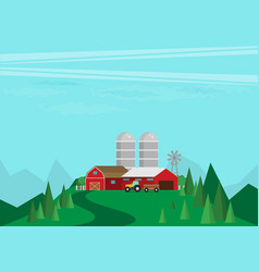 farm flat landscape natural background organic vector image vector image
