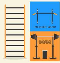 flat design elements for gym and fitness vector image