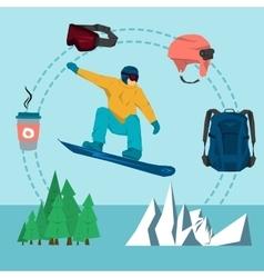 Flat set snowboarding sport vector