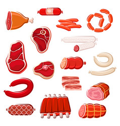 fresh meat and sausage icon set for food design vector image