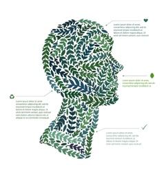Green leaf portrait man head symbol file vector image