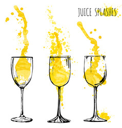 Juice orange and apple splashes in wine glasses vector