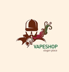 logo for vape shop Man in the hood with the electr vector image