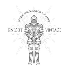 Medieval knight in armor with a sword vector image