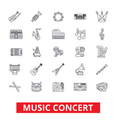 Music concerts guitar piano dj party drums vector