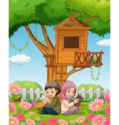 Muslim couple reading books in the park vector
