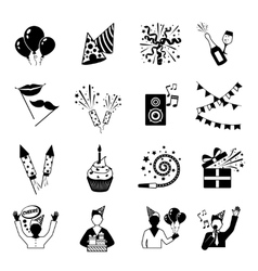 Party Icons Black And White vector image vector image