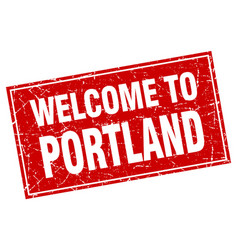 Portland red square grunge welcome to stamp vector