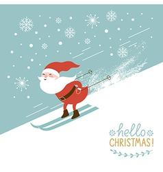 santa skiing down a mountain slope vector image
