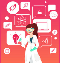 scientist with tube for experiment and science vector image