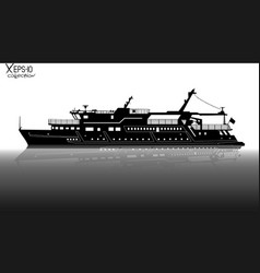 silhouette of touristic pleasure boat sailing on vector image vector image