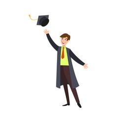 Student boy in graduation gown throwing cap up vector