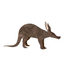 Walking aardvark animal cartoon character isolated vector