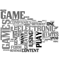 What is electronic game text word cloud concept vector