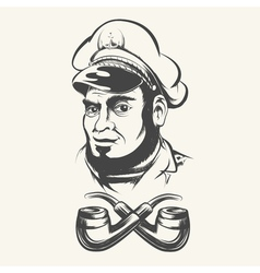 Captain with smoking pipes vector image