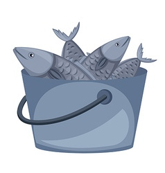 Bucket of fish on white background vector image