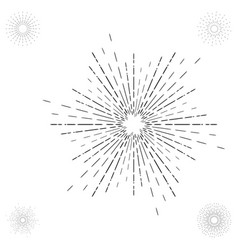 Linear drawing of vintage sunbursts or light rays vector