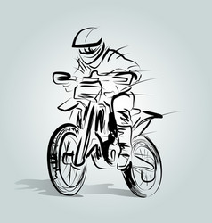 sketch of a motocross rider vector image