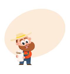 funny farmer gardener character holding retro vector image