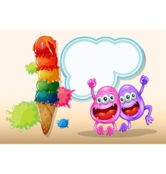 Two happy monsters jumping near the giant icecream vector