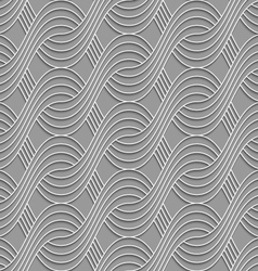 3d striped interlocking waves on gray vector
