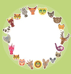 Funny animals card template white circle on light vector