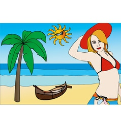 Woman on the beach with a red hat vector