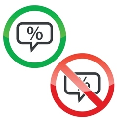 Percent message permission signs vector