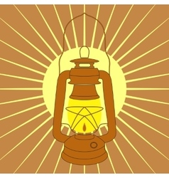 Vintage mine kerosene lamp over yellow sunrise vector