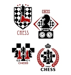 Chess game icons with chessmen and timer vector