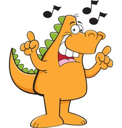 Cartoon dinosaur singing with musical notes vector