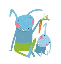 Hare and leveret eating carrot vector