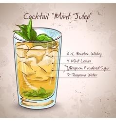 Cocktail mint julep vector