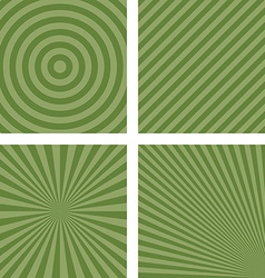 Simple green striped pattern background set vector