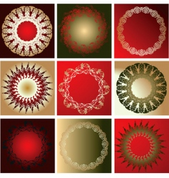 Red gold various quad ornament vector