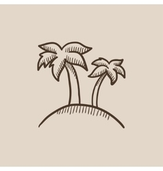 Two palm trees on island sketch icon vector
