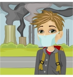 Schoolboy wearing mask against polluted city vector