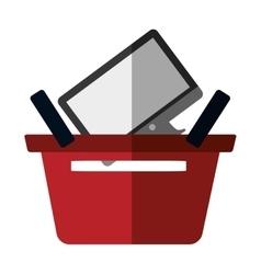 Basket buying online computer screen wireless vector