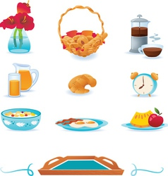 Blue breakfast icons set vector image vector image