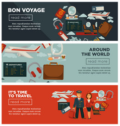 Bon voyage around world and time to travel posters vector