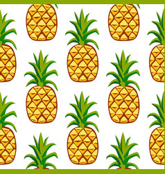 cartoon fresh pineapple fruits in flat style vector image vector image
