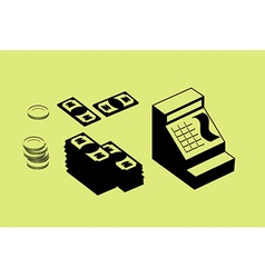 Cash register and money pile of cash and coins set vector