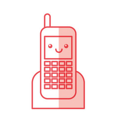 Cellphone device kawaii character vector