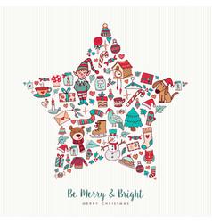 christmas hand drawn icon star holiday card design vector image vector image