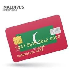 Credit card with maldives flag background for bank vector