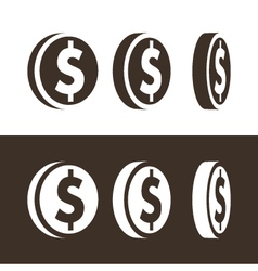 Dollar coin icons vector