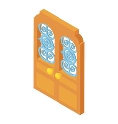 Door with lattice pattern icon cartoon style vector image
