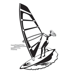Female windsurfer in the sea vector